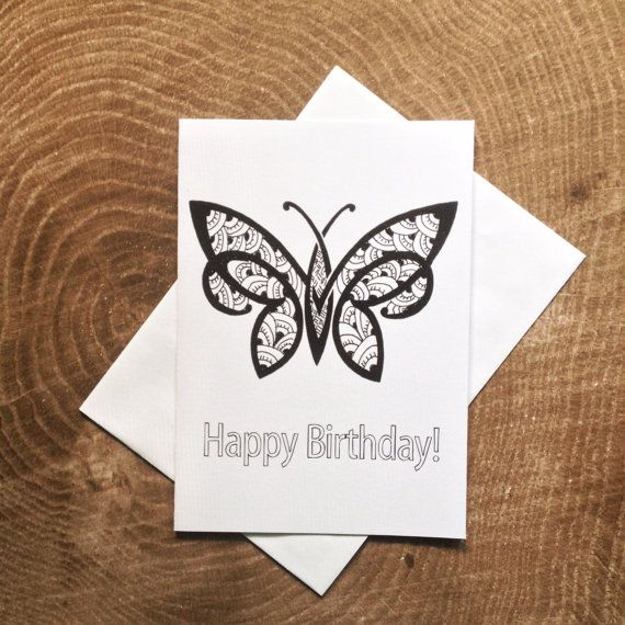 Butterfly Birthday Card: Birthday Coloring Card by ...
