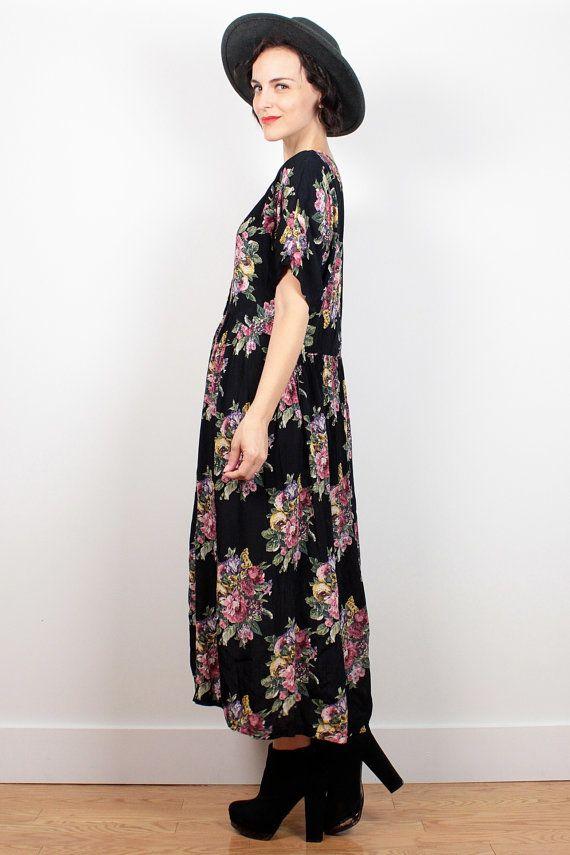 Vintage Soft Grunge Dress Black Floral Print Midi Dress 1990s Dress ...