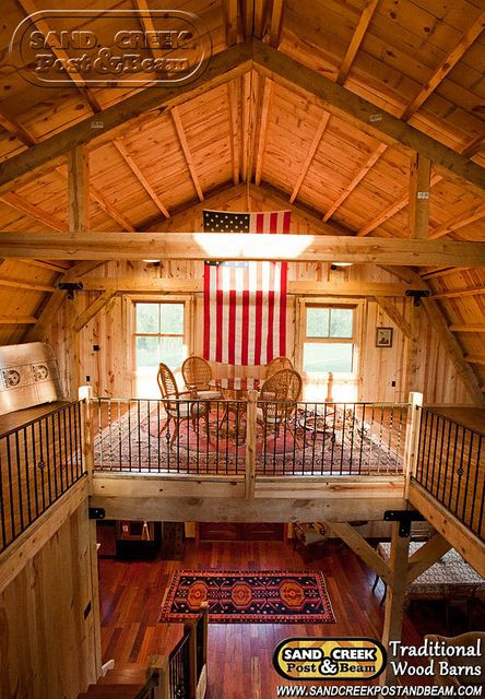 Interior Loft Sand Creek Post Beam Traditional Wood Barns And Post Beam Homes Barn House Gambrel Barn Cabin Homes