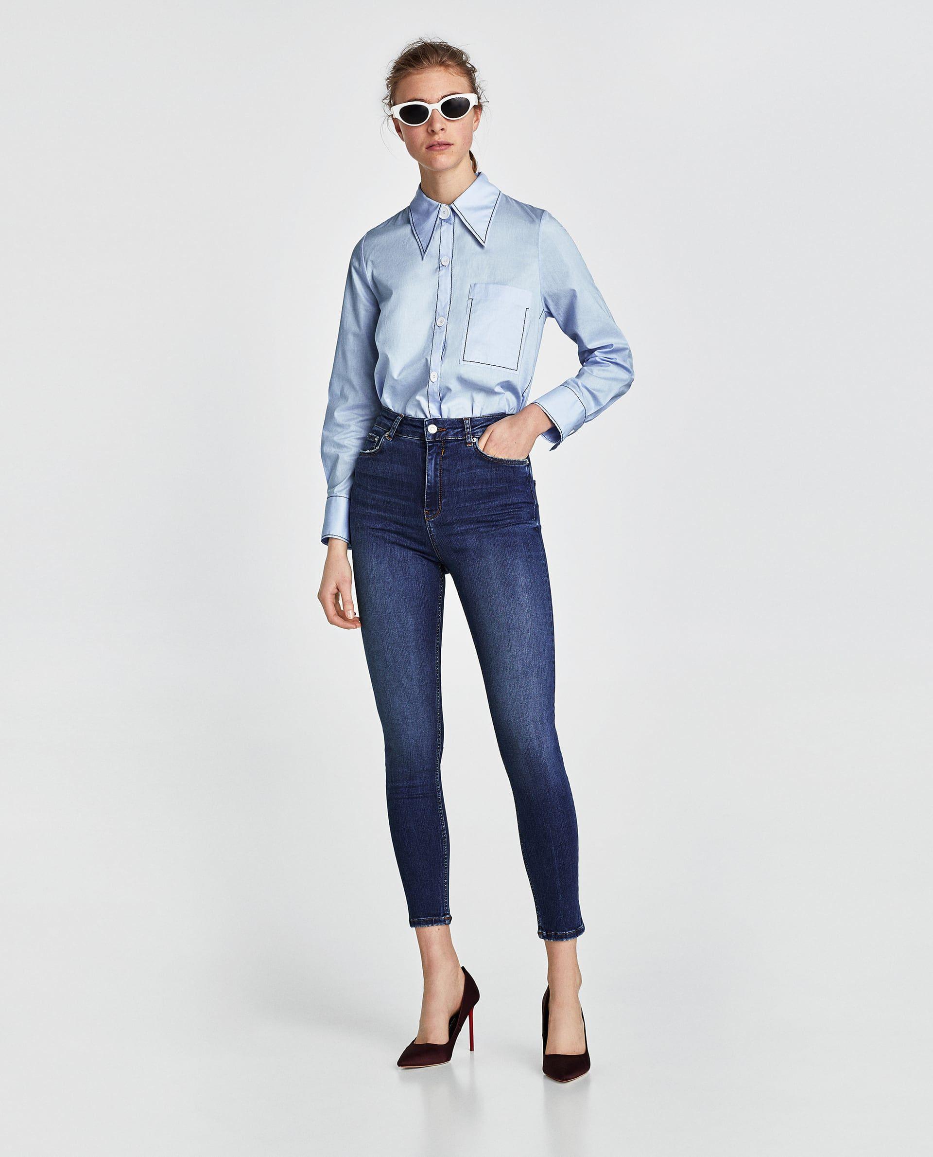 61affc68 JEANS HIGH WAIST NICOLE BLUE | Zara | High waist jeans, Zara jeans ...