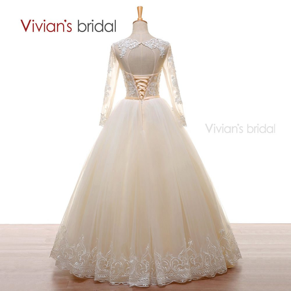 Vivianus bridal a line wedding gown long sleeves beads lace tulle