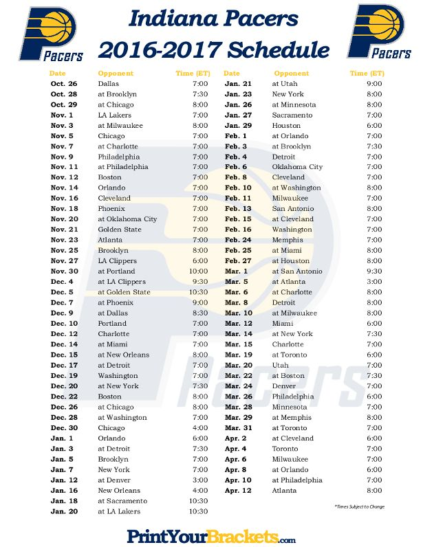 photograph relating to Printable Pacers Schedule titled Printable Indiana Pacers Basketball Agenda 2016-2017