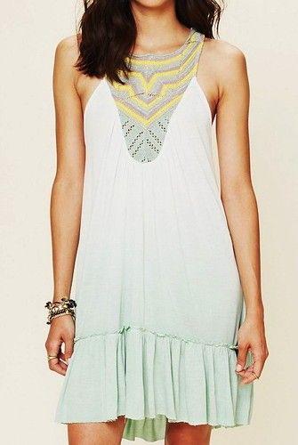 Free People Belle Fleur DIP Dye Knit Tunic Top Dress Mint Combo #tie #dye #tops www.loveitsomuch.com