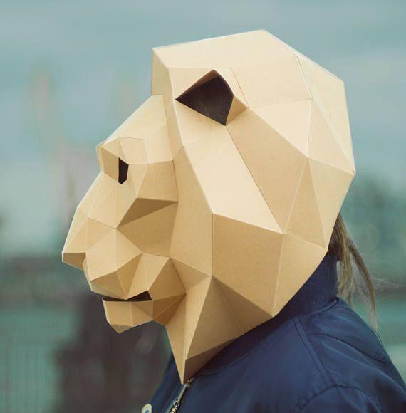 Lion MaskCat MaskDIY 3D MaskPDFPolygon Paper Mask