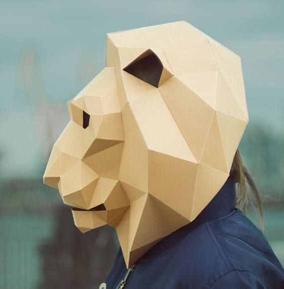 Lion Mask,Cat Mask,DIY 3D mask,PDF,Polygon Paper Mask