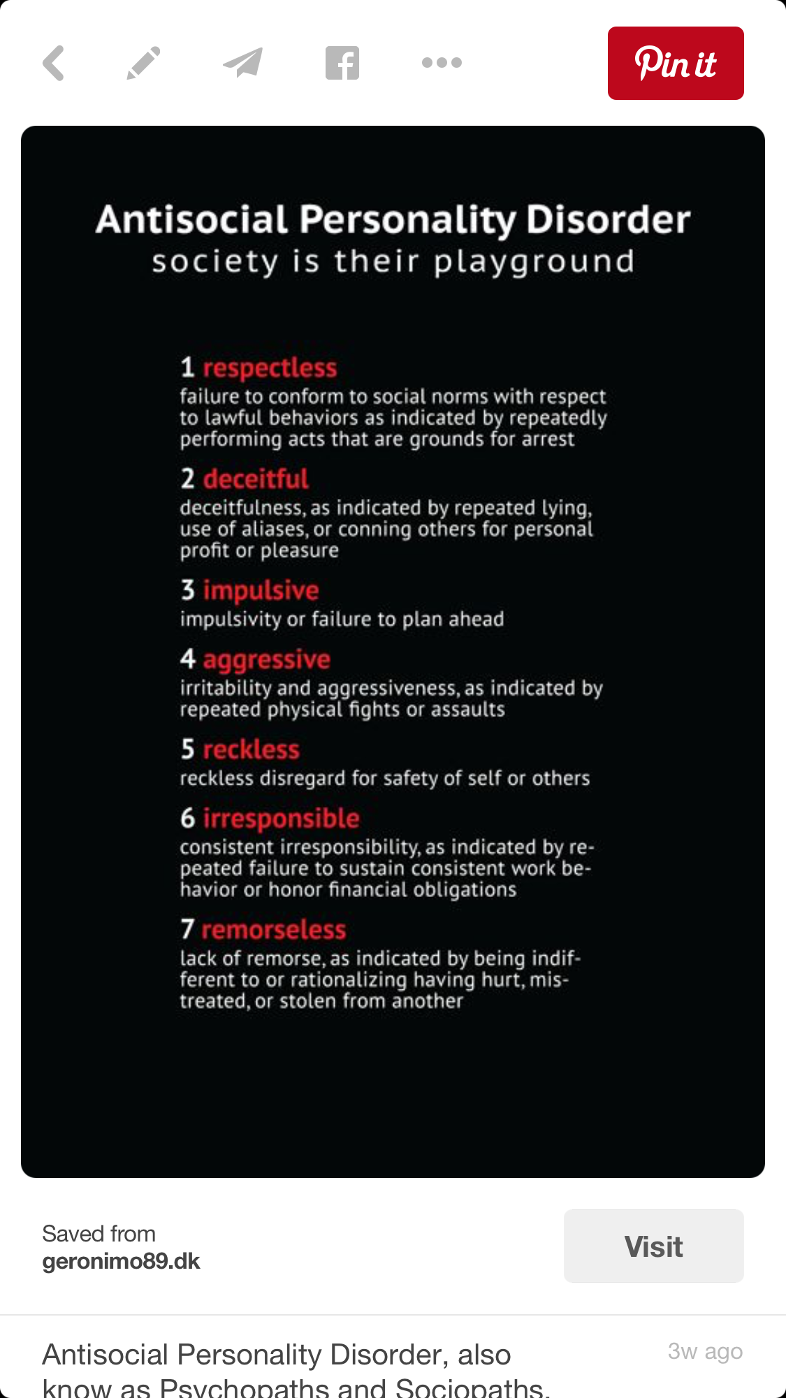 Symptoms of sociopath