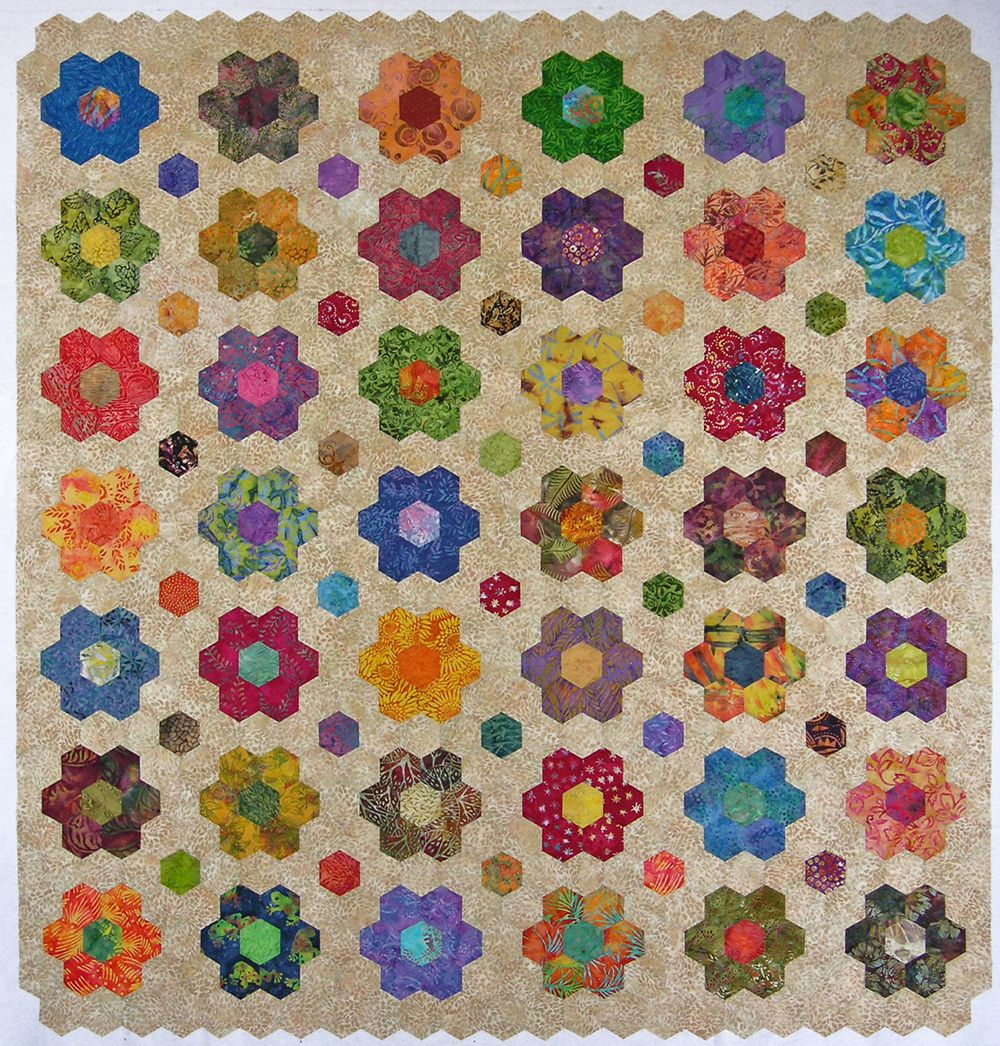 Batik hexagon quilt top – done! | Hexagon quilting, English paper ... : hexagon quilting patterns - Adamdwight.com