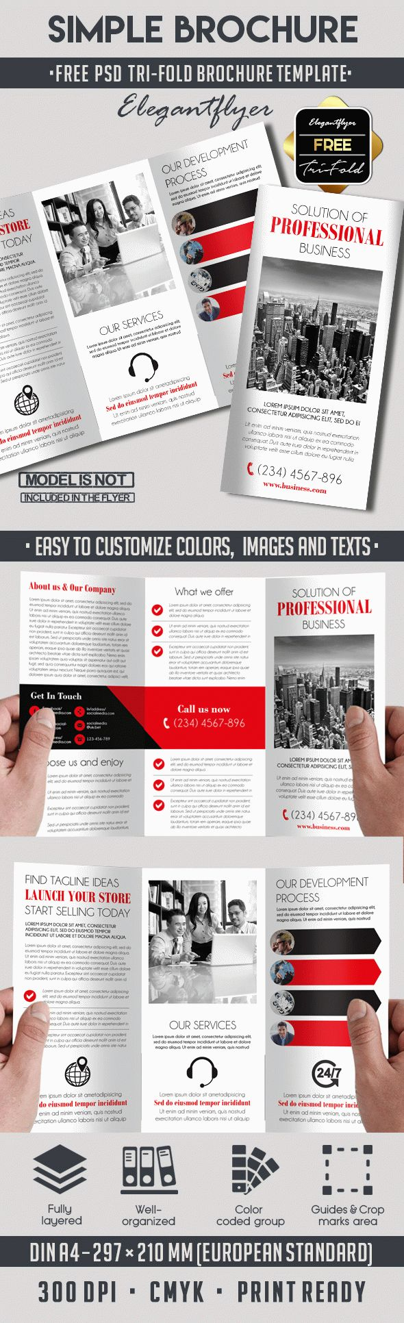 Simple free tri fold psd brochure template brochure template simple free tri fold psd brochure template wajeb Images