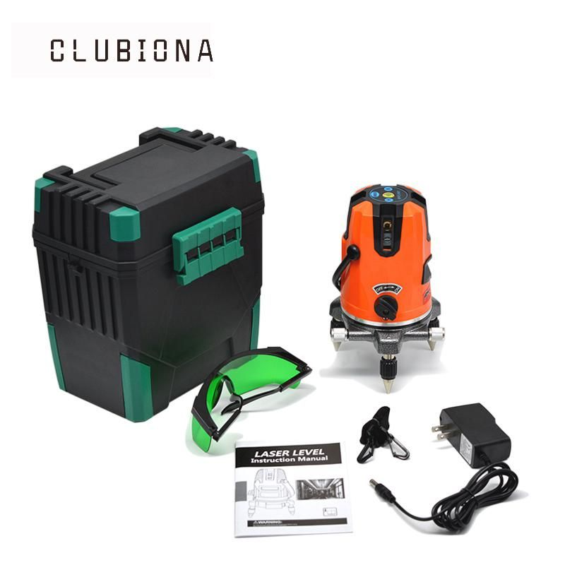 Us Plug Clubionia Zkll05g 4v 1h 5 Lines 6 Points Green Laser Level Automatic Cross Line 360 Rotary Green Laser Yest Green Laser Laser Levels Measurement Tools