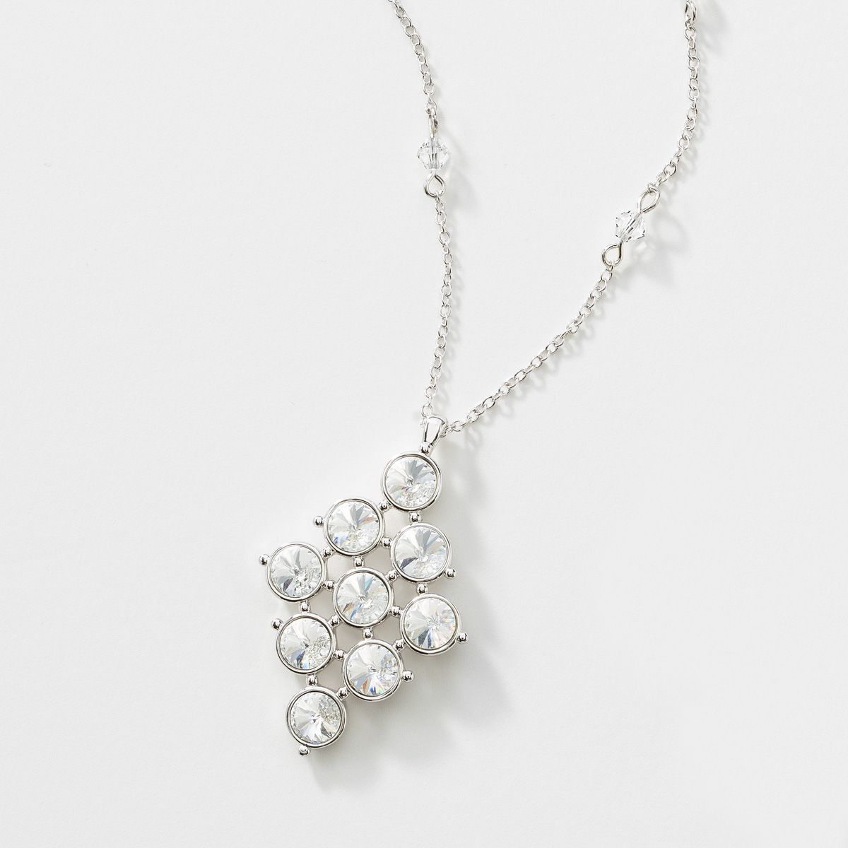 """Swarovski Crystal Jewelry  click picture to visit website Aria Pendant Item 3924NF Crystal set in rhodium plating; 15"""" to 18"""". $79.00 Alison Manaher's Personal Website"""