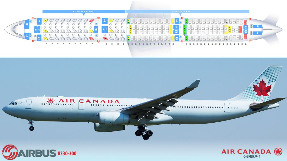 Air Canada Airbus A330 300 Airline Seat Plans Canadian Airlines