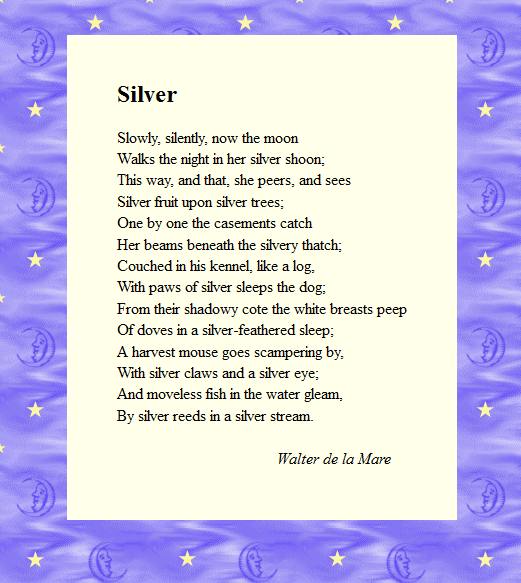 Silver by Walter de la Mare | Poetry | Pinterest | We, Home and Poems