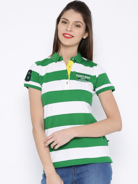 Buy HARVARD Green   White Striped Polo T Shirt - Tshirts for Women ... 07afe1d09d