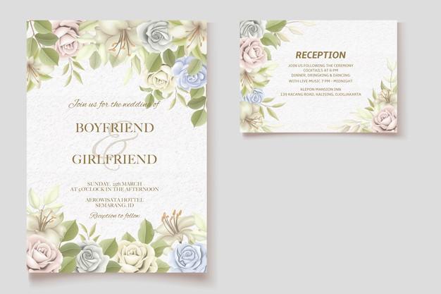 Wedding Invitation Card Wedding Invitation Cards Floral Wedding Invitations Watercolour Wedding Stationery