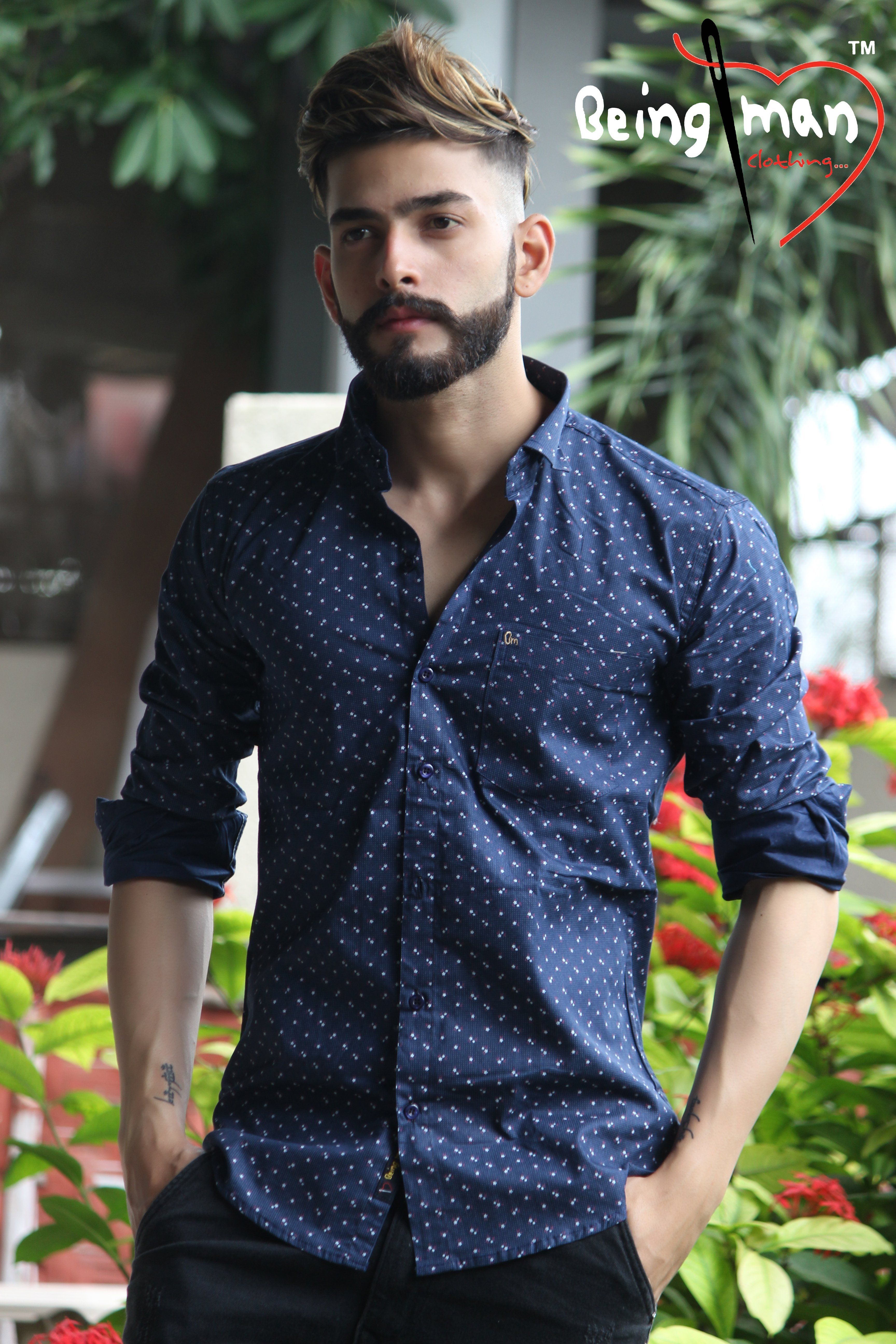 4112732d Buy Dark Blue Color Satin print Men's Shirt | Zinnga | Online Mens ...
