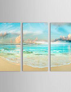 dipinti ad olio set di 3 paesaggio marino lato terra e il cielo blu della tela di canapa dipinta a mano pronta per essere appesa