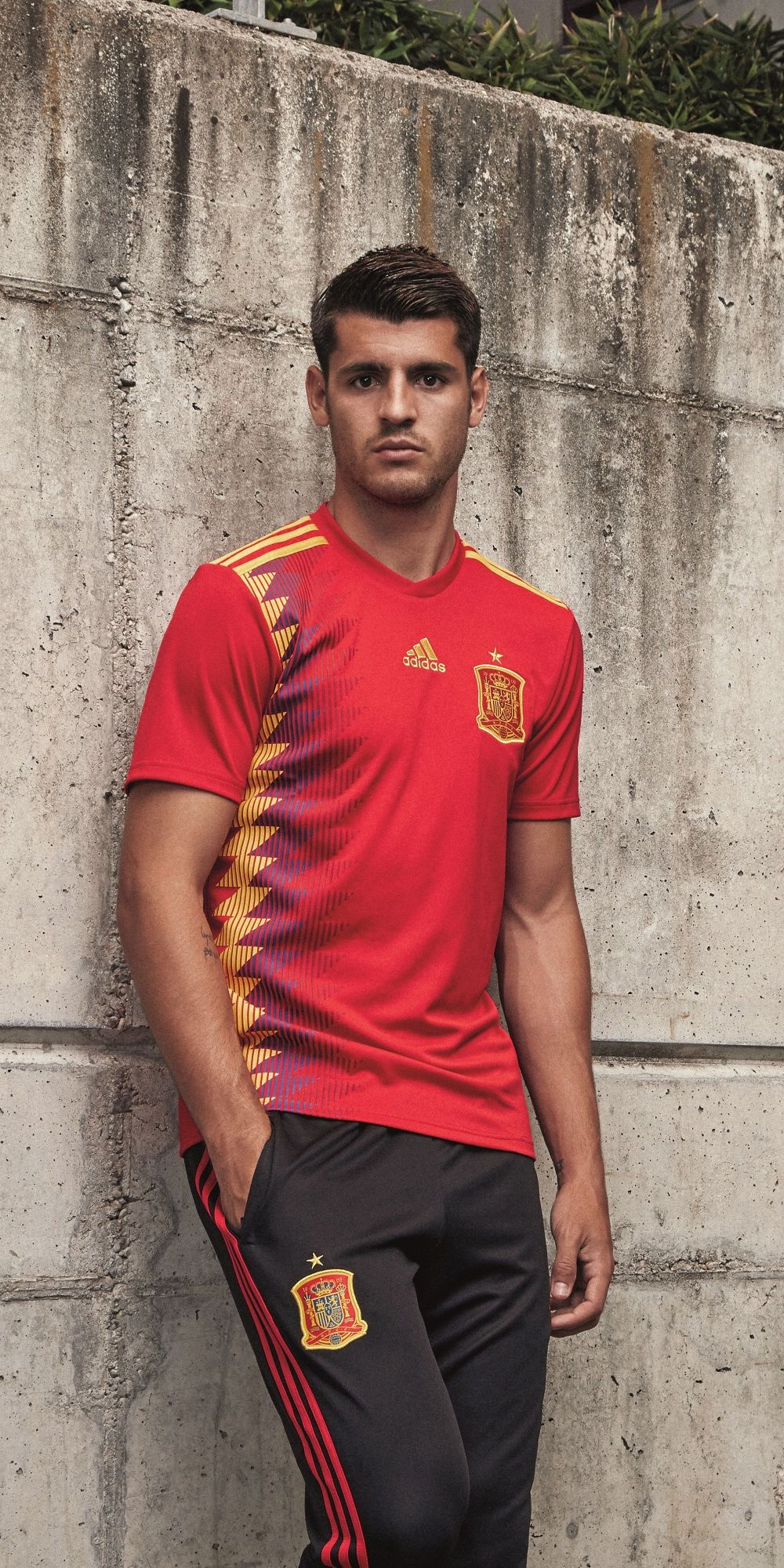 online retailer 331c5 f17dd Alvaro Morata in the adidas 2018 Spain home jersey