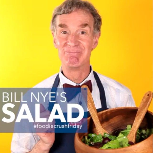 """We have a very special #foodiecrushfriday guest today. You may know him as Bill Nye the Science Guy, but to me he is Bill Nye the Salad Guy. You must try his recipe for his French ancestors' salad - I love it! Check out Bill's book """"Undeniable: Evolution and the Science of Creation"""" and follow him on IG and Twitter at @billnye Love, Ms. Dash  #unprocessyourfood #fcf"""