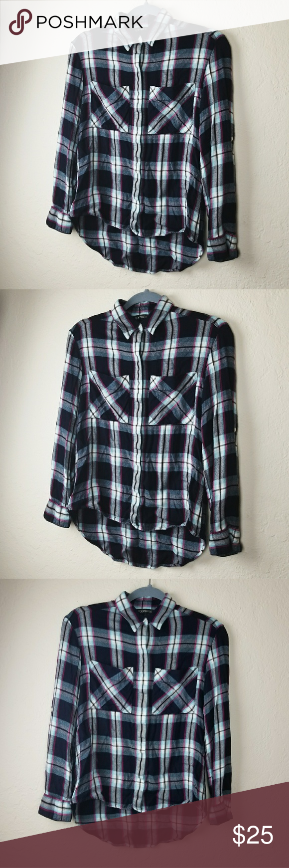 Express high low flanne shirt in my posh picks pinterest