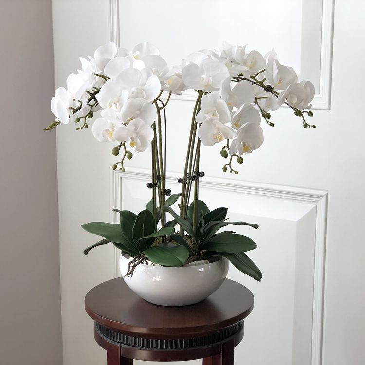 1 Set Orchids Real Touch Flower With Leaves Artificial Orchids Arrangement Diy Arrange F Orchid Flower Arrangements Flower Arrangements Diy Orchid Arrangements