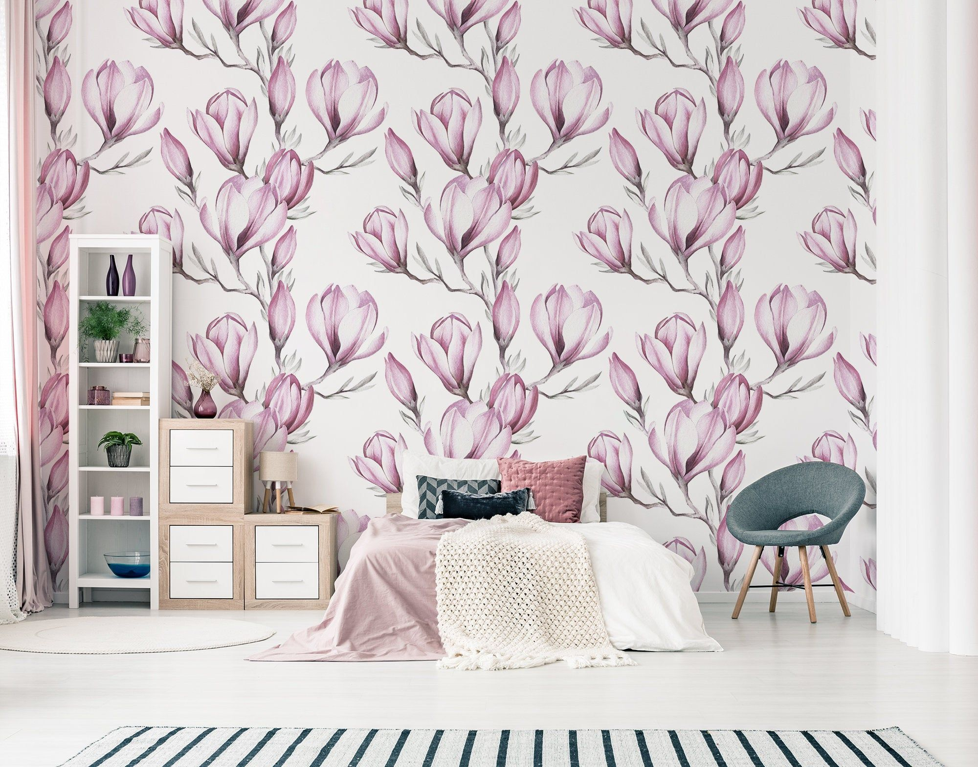 Pink magnolia wallpaper, peel and stick wall mural, floral
