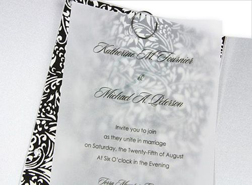Clic Vellum Overlay In A Gate Fold Silver Black And White Wedding Invitation With Clear