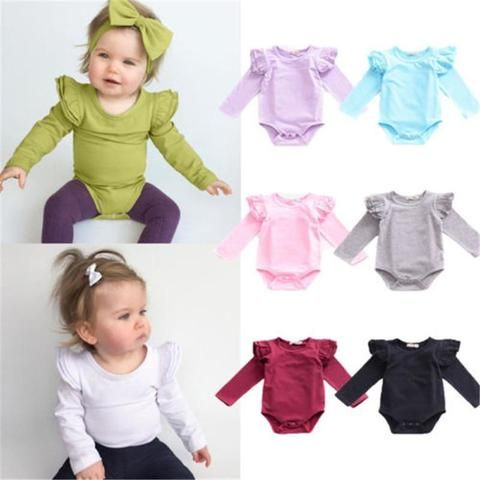50500e3261da Fashion Brand Newborn Baby Rompers Boys Girls Candy Color Long ...