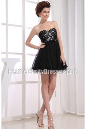 Dazzling Black Beaded Strapless Mini Party Dress Homecoming Dress ...