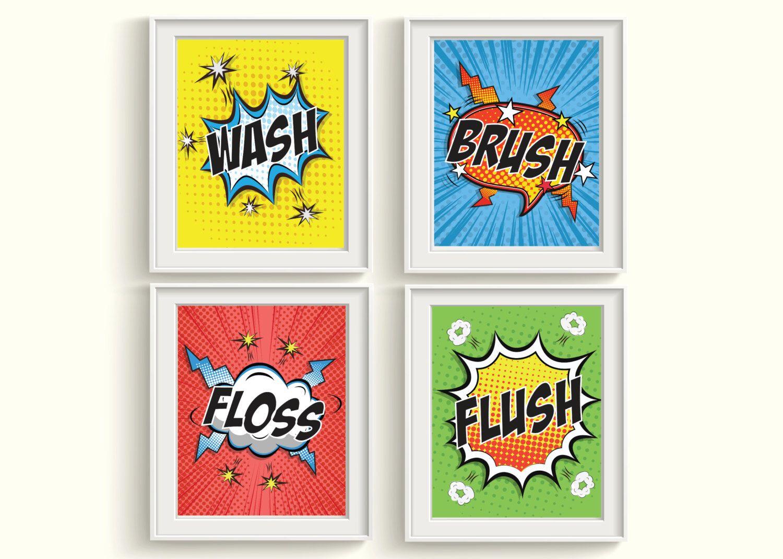 Superhero Bathroom Art Prints Set
