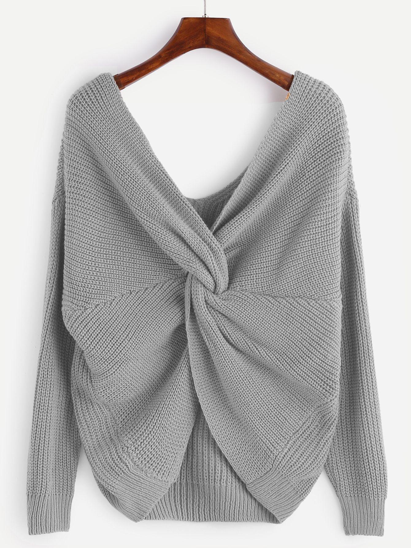 Jersey con cuello en V anudado - gris-Spanish SheIn(Sheinside ... da5b4e8c82fa