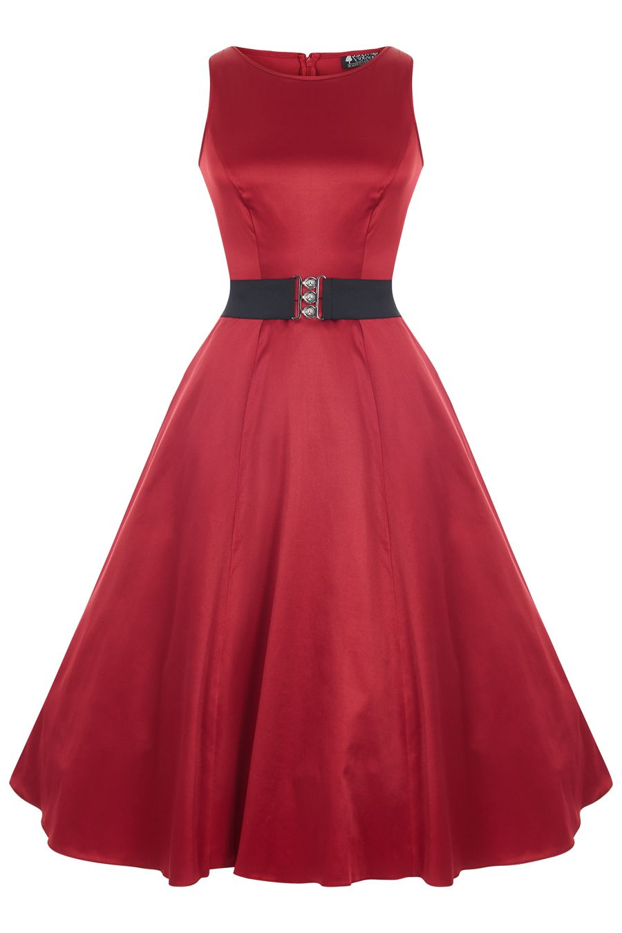 Ruby Red Satin Hepburn Dress with Black Elastic Belt | Vestiditos