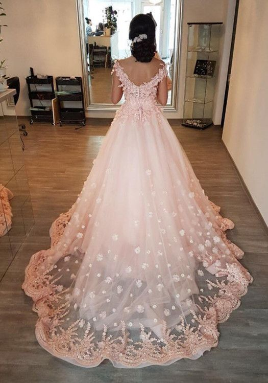 Gorgeous Lace Embroidery V-neck Off Shoulder Tulle Peach Wedding ...