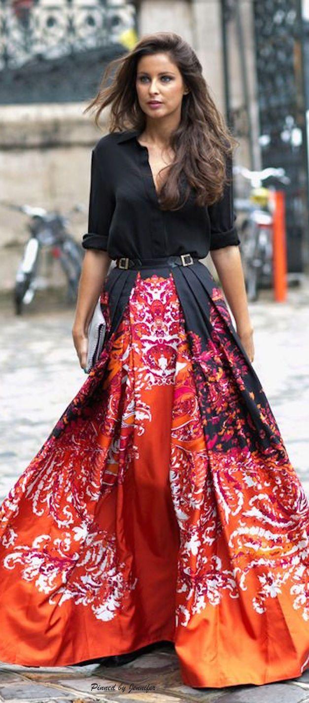 Streetstyle: So tragen Sie die große Robe   Maxiröcke, Streetstyle ...