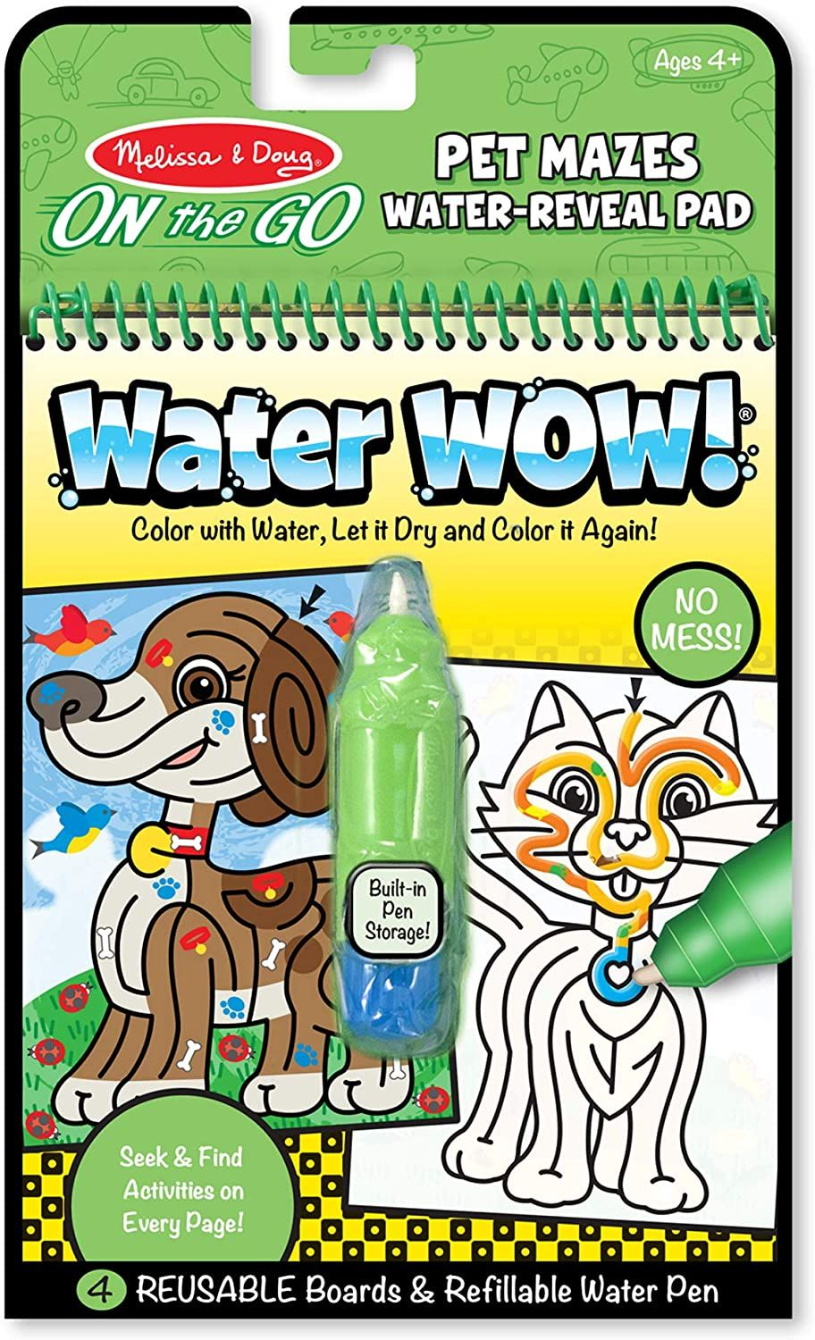 Melissa And Doug On The Go Water Wow Pet Mazes Activity Pad The Original Reusable Coloring Book Refill In 2020 Melissa Doug Painting For Kids Simple Line Drawings