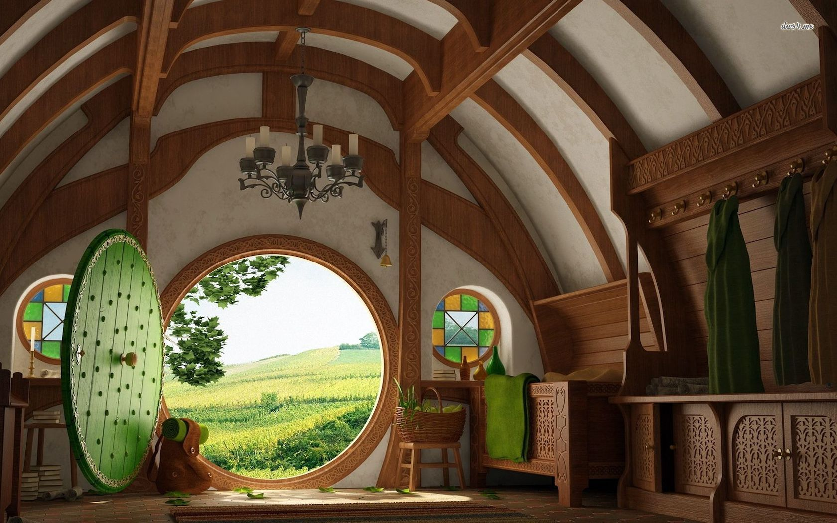 Architecture Hobbit House Design With Carving Wooden Hobbit