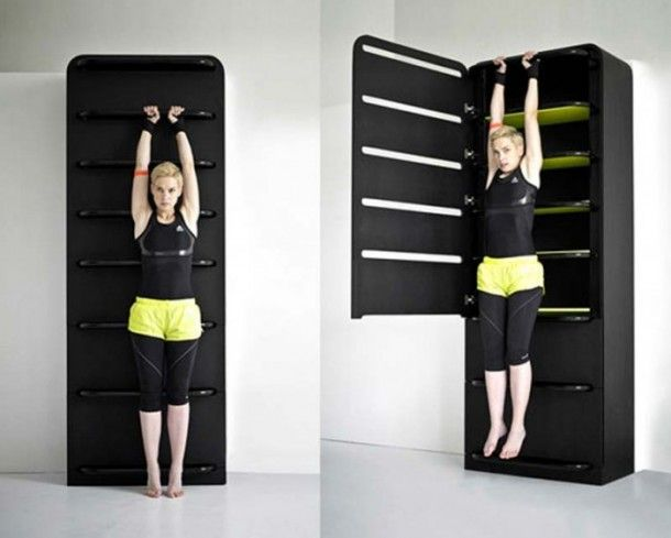 Home gym spacesaving cabinet pull up bar idea diy