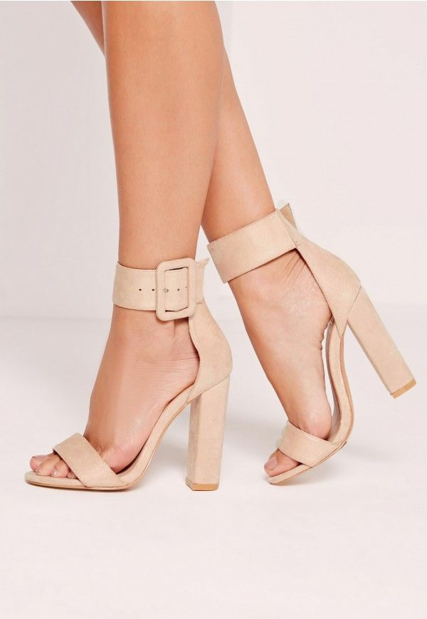 9f3d6f03c66 Oversized Buckle Block Heels Nude by Missguided