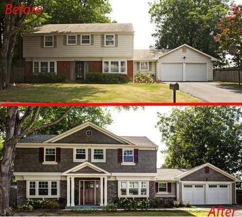 20 home exterior makeover before and after ideas for Redesign front of house