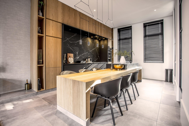Prachtige keuken met jaloezieën van raamdecoratie ❤ doorkijk
