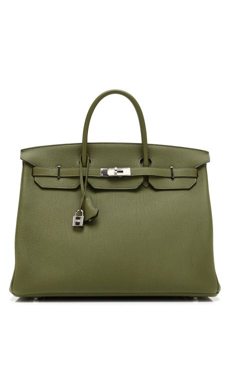 2470196e42 Vintage Hermes from Heritage Auctions 40Cm Vert Canopee Clemence Leather  Birkin