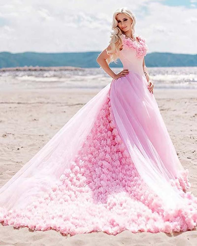 bf051d80f3a Siaoryne Luxury Pink Rose Ball Gown Debutante Gowns Quinceanera Dresses 3D  Flowers Sweet 16 Dress