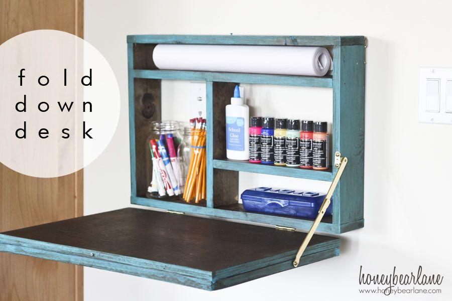 Painted Fold Down Desk Fold Down Desk Craft Table Diy Diy