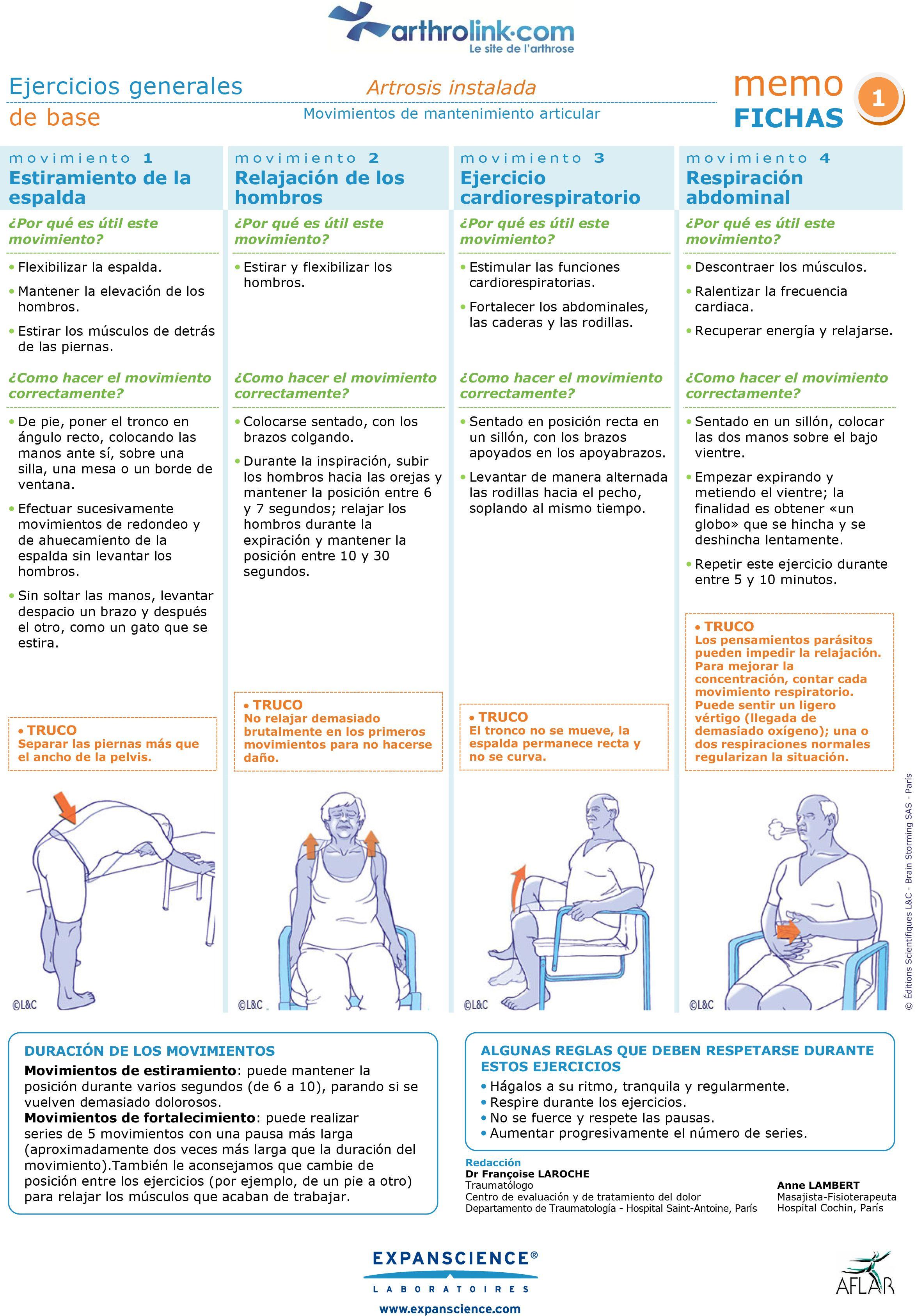 Ejercicios generales de base osteoartritis instalada