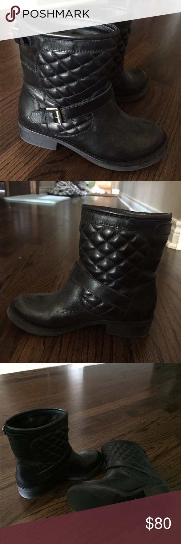Black Booties Black quilted booties. Size six women's. Gently used no damages Shoes Ankle Boots & Booties
