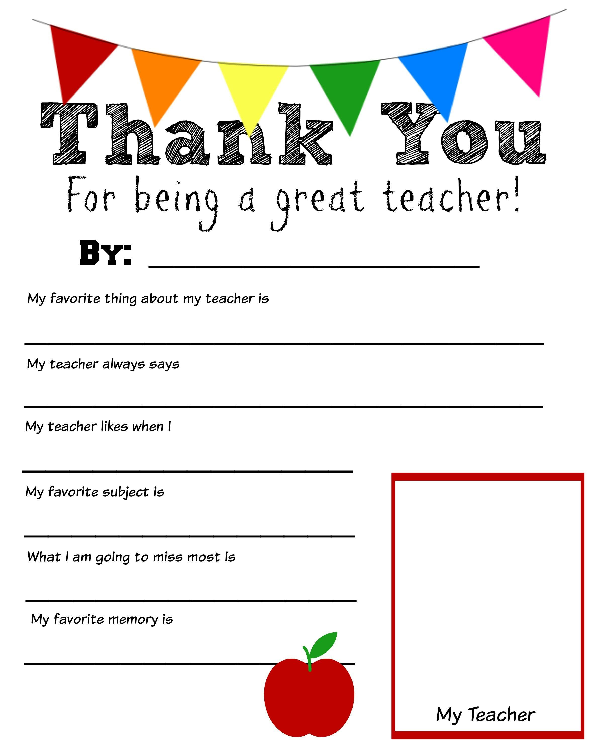 Thank You Teacher Printables For Students