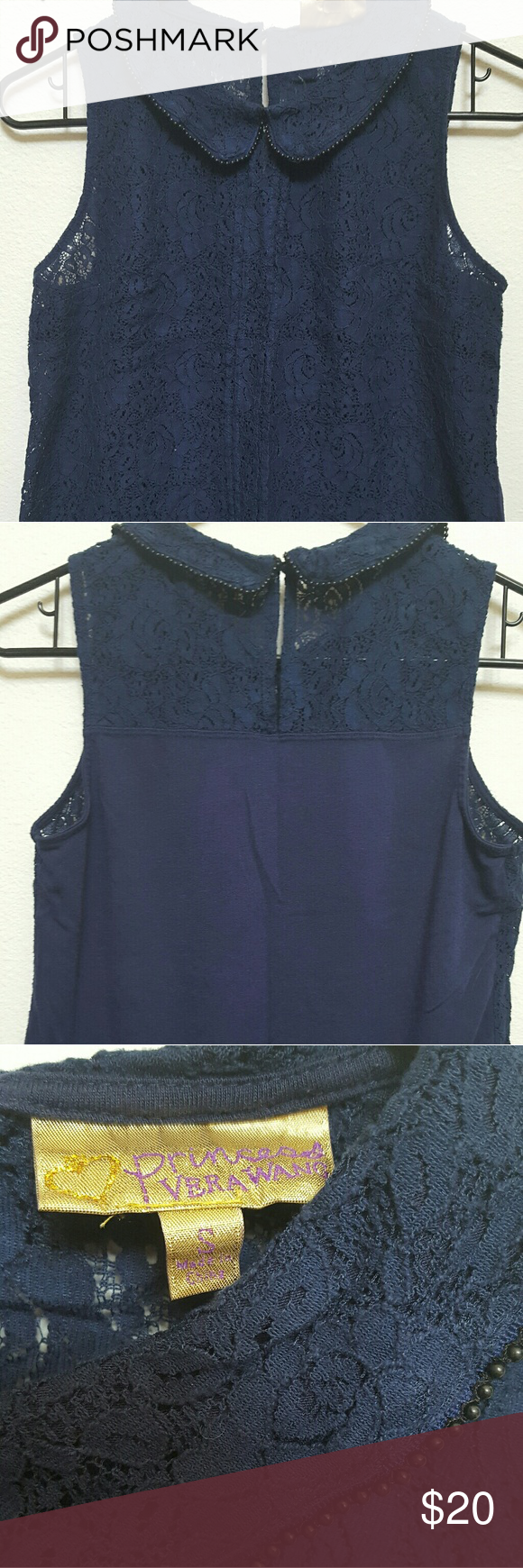 Blue lace, sleeveless top Blue lace top, collar with round black beads around the edge, button closure in back Vera Wang Tops Sweatshirts & Hoodies