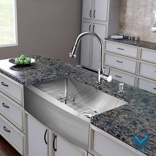 VIGO All In One 30 Inch Farmhouse Stainless Steel Kitchen Sink And Chrome  Faucet Set