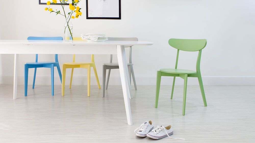 Aver White Extending and Senn Colourful Dining Set