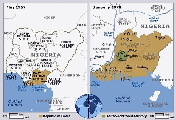 Biafra Map | French west africa, West africa, Map