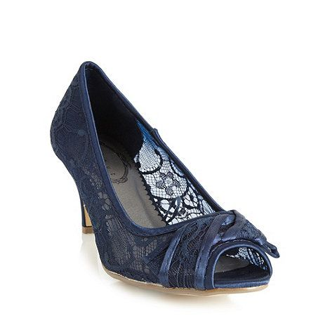 Debut Navy lace mid heel court shoes